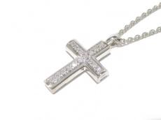 BVLGARI(ブルガリ) ネックレス ラテンクロス K18WG×ダイヤモンド