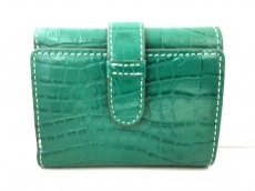 トプカピ 3つ折り財布美品  グリーン 型押し加工/VACCHETTA TOPKAPI