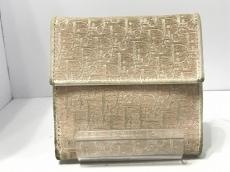 クリスチャンディオール Wホック財布 ロゴグラム ピンク×白