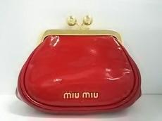 miumiu(ミュウミュウ) コインケース - レッド×ゴールド がま口