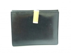 PRADA(プラダ) 2つ折り財布 - 黒×ゴールド レザー×金属素材