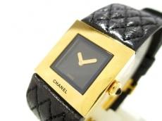 シャネル 腕時計 マトラッセ - レディース K18YG×革ベルト 黒