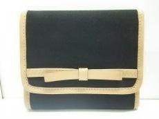 ミュウミュウ 3つ折り財布美品  - 黒×ブラウン ナイロン×レザー