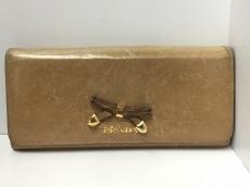 PRADA(プラダ) 長財布 - ライトブラウン×ゴールド リボン レザー