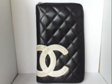 CHANEL(シャネル) 財布 カンボンライン 黒×白 ラウンドファスナー
