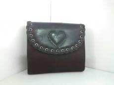 クリスチャンディオール Wホック財布 ロゴグラム 黒×ダークブラウン