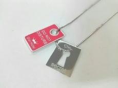 クリスチャンディオール ネックレス美品  金属素材 シルバー×ピンク