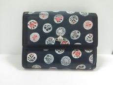 ヴィヴィアンウエストウッド 2つ折り財布 黒×マルチ レザー