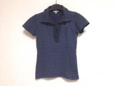 ラコステ 半袖ポロシャツ サイズ40 M レディース ネイビー×白