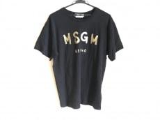 MSGM(エムエスジィエム) 半袖Tシャツ レディース 黒×ゴールド
