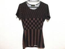 フェンディ 半袖Tシャツ レディース ズッカ柄 ダークブラウン×黒