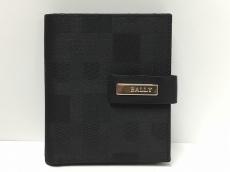 BALLY(バリー) Wホック財布美品  黒 ジャガード×レザー