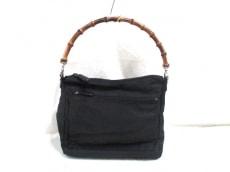 GUCCI(グッチ) ハンドバッグ バンブー - 黒×ブラウン ナイロン