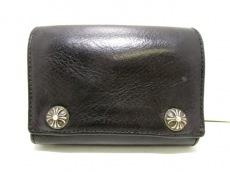クロムハーツ 3つ折り財布 3フォールドウォレット 黒 レザー