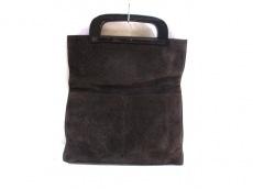 グッチ トートバッグ - - ダークブラウン×黒 スエード×ウッド