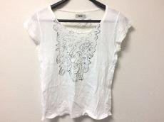 アクネ 半袖Tシャツ レディース 白×ダークグレー×ライトグレー