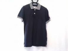 モンクレール 半袖ポロシャツ サイズS メンズ ダークネイビー×白