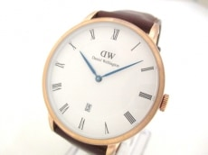 ダニエルウェリントン 腕時計 - メンズ 革ベルト 白