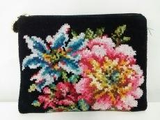 FEILER(フェイラー) ポーチ 黒×ピンク×ブルー×マルチ 花柄 パイル