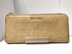 ミュウミュウ 長財布 - ライトブラウン L字ファスナー/型押し加工
