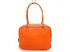 エルメス ハンドバッグ美品  プリュム20 オレンジ シルバー金具