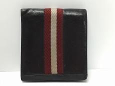 BALLY(バリー) 2つ折り財布 ダークブラウン×レッド×ライトグレー