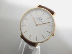 ダニエルウェリントン 腕時計美品  - - レディース 革ベルト 白