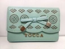 TOCCA(トッカ) 名刺入れ美品  ライトグリーン リボン レザー