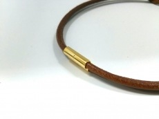 エルメス チョーカー アタメ レザー×金属素材 ブラウン×ゴールド