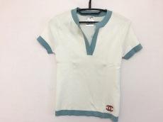 シャネル 半袖セーター レディース アイボリー×ライトブルー