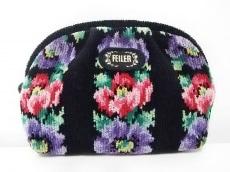 FEILER(フェイラー) ポーチ 黒×パープル×マルチ 花柄 パイル