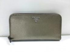 PRADA(プラダ) 長財布 - 1M0506 ゴールド ラウンドファスナー レザー