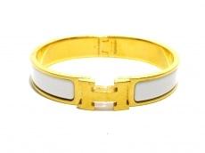 HERMES(エルメス) バングル クリッククラック 金属素材 ゴールド×白