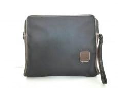 ダンヒル セカンドバッグ 黒×ブラウン PVC(塩化ビニール)×レザー