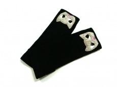 ルルギネス 手袋 レディース美品  黒×アイボリー×マルチ ネコ