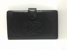 CHANEL(シャネル) 2つ折り財布 キャビアスキン 黒 がま口/ココマーク