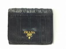 PRADA(プラダ) 3つ折り財布 ギャザーウォレット 1M0176 黒 レザー