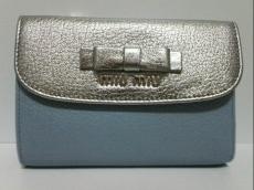 ミュウミュウ 3つ折り財布美品  マドラス 5M1225 リボン/バイカラー