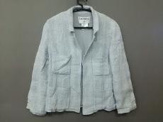 シャネル ジャケット サイズ40 M レディース美品  ライトブルー×白