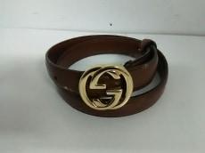 グッチ ベルト ダブルG ダークブラウン×ゴールド レザー×金属素材