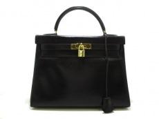 HERMES(エルメス) ハンドバッグ ケリー32 黒 ゴールド金具/内縫い