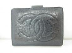 CHANEL(シャネル) 2つ折り財布 キャビアスキン 黒 キャビアスキン