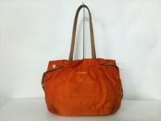 プラダ トートバッグ ロゴジャガード オレンジ×ブラウン 革タグ