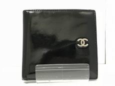 CHANEL(シャネル) 2つ折り財布 - 黒 ココマーク エナメル(レザー)