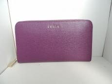 FURLA(フルラ) 長財布美品  パープル ラウンドファスナー レザー