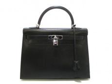 エルメス ハンドバッグ美品  ケリー32 黒 外縫い/シルバー金具