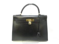 エルメス ハンドバッグ美品  ケリー32 黒 外縫い/ゴールド金具