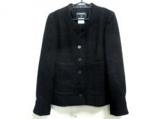 シャネル ジャケット サイズ38 M レディース 黒 ツイード/ノーカラー