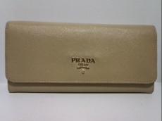 PRADA(プラダ) 長財布 - ベージュ レザー