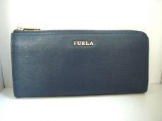 FURLA(フルラ) 長財布美品  ネイビー L字ファスナー レザー